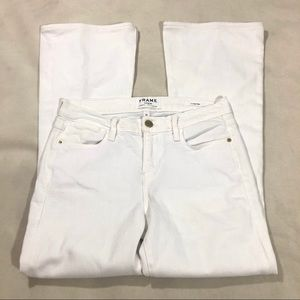 Frame Le High Flare Jeans in Blanc Cropped